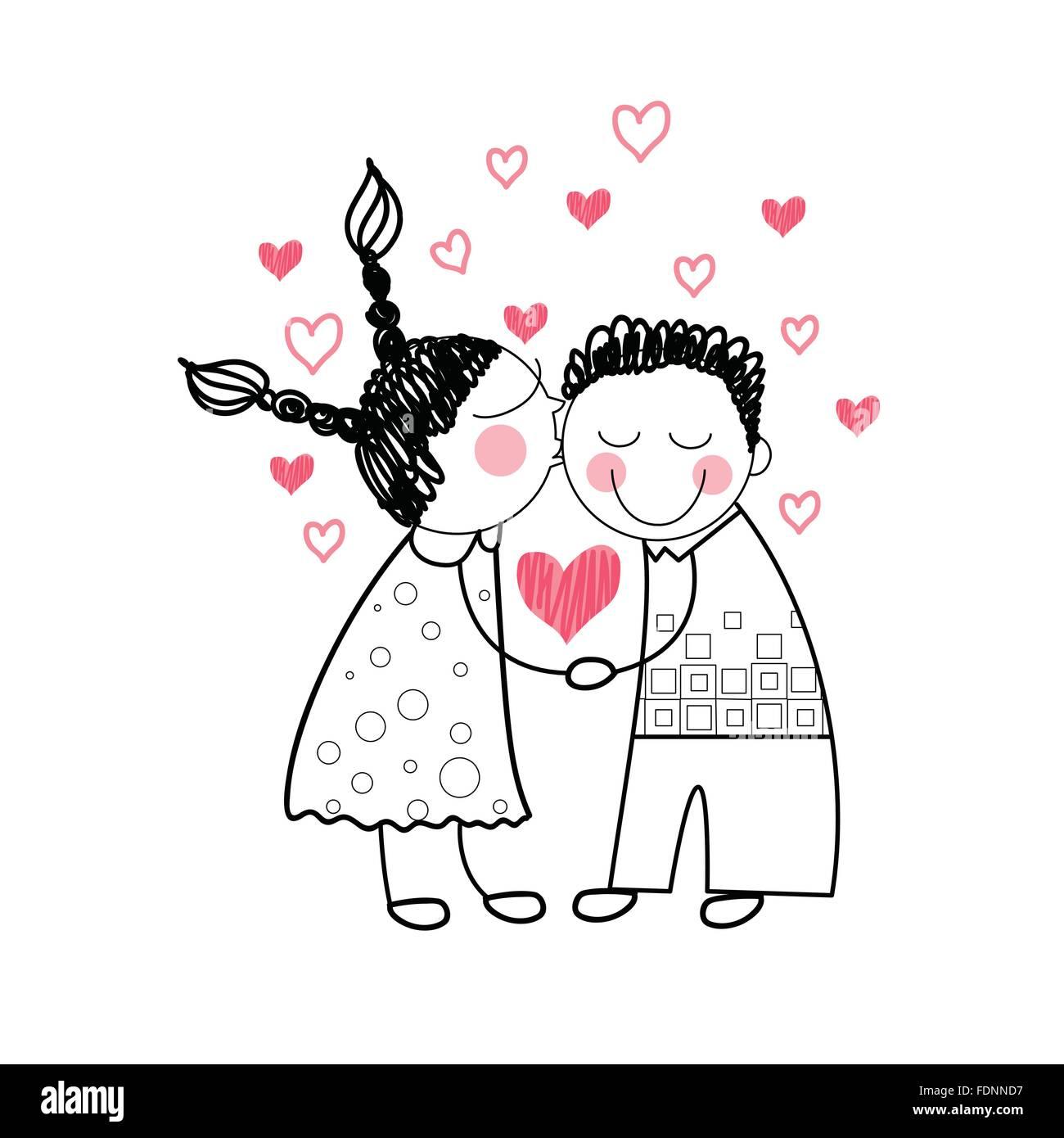 Rotes Herz Form Liebe Hand In Hand Einfache Linie Zeichnen Vektor