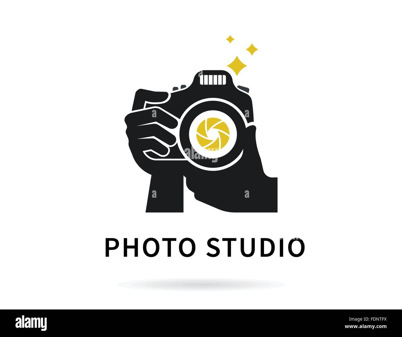 Fotograf-Hände mit Kamera flach Illustration für Symbol oder Logo ...