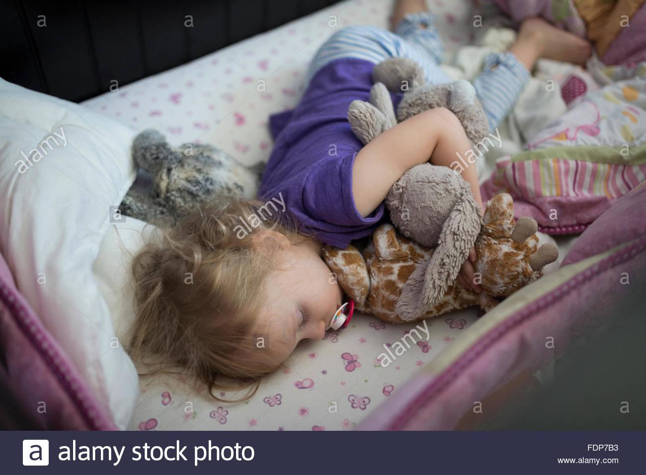 Mädchen schläft mit Schnuller und ausgestopfte Tiere Stockbild