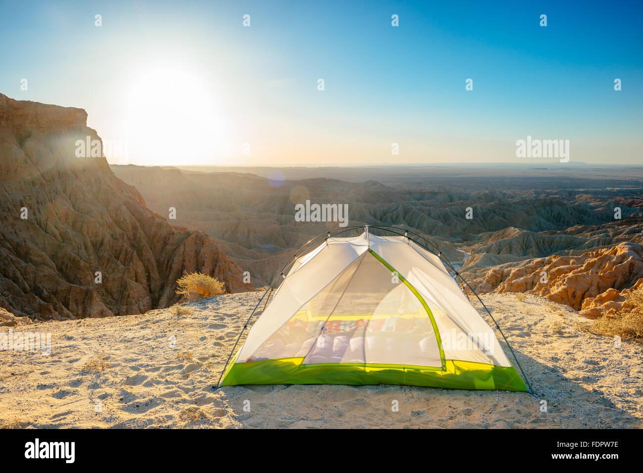 Camping an der Schrift Punkt in Anza-Borrego Desert State Park, Kalifornien Stockbild