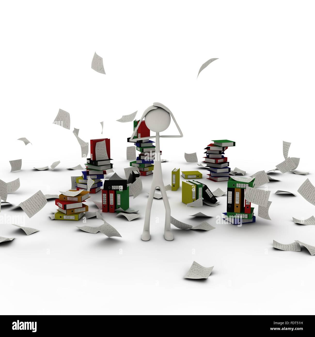 Buro Arbeitsplatz Chaos Figur Uberarbeitet Stockfoto Bild
