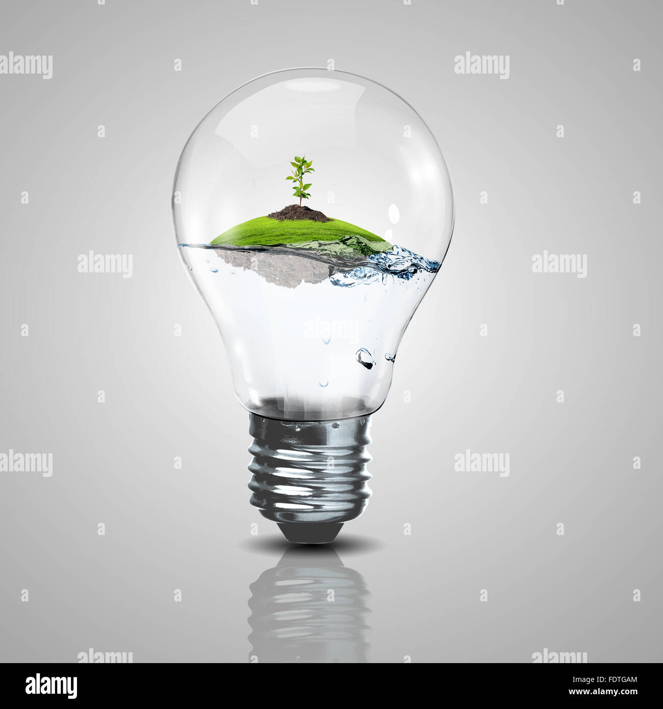 Grüne Energie-Symbole, Ökologie-Konzept, Glühbirne Stockbild