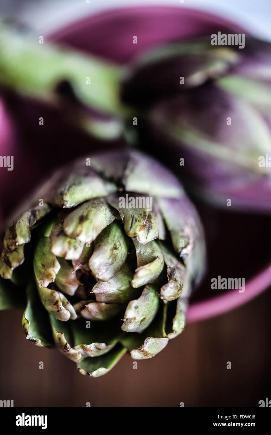 Artischocke. Frisch. Closeup Stockbild