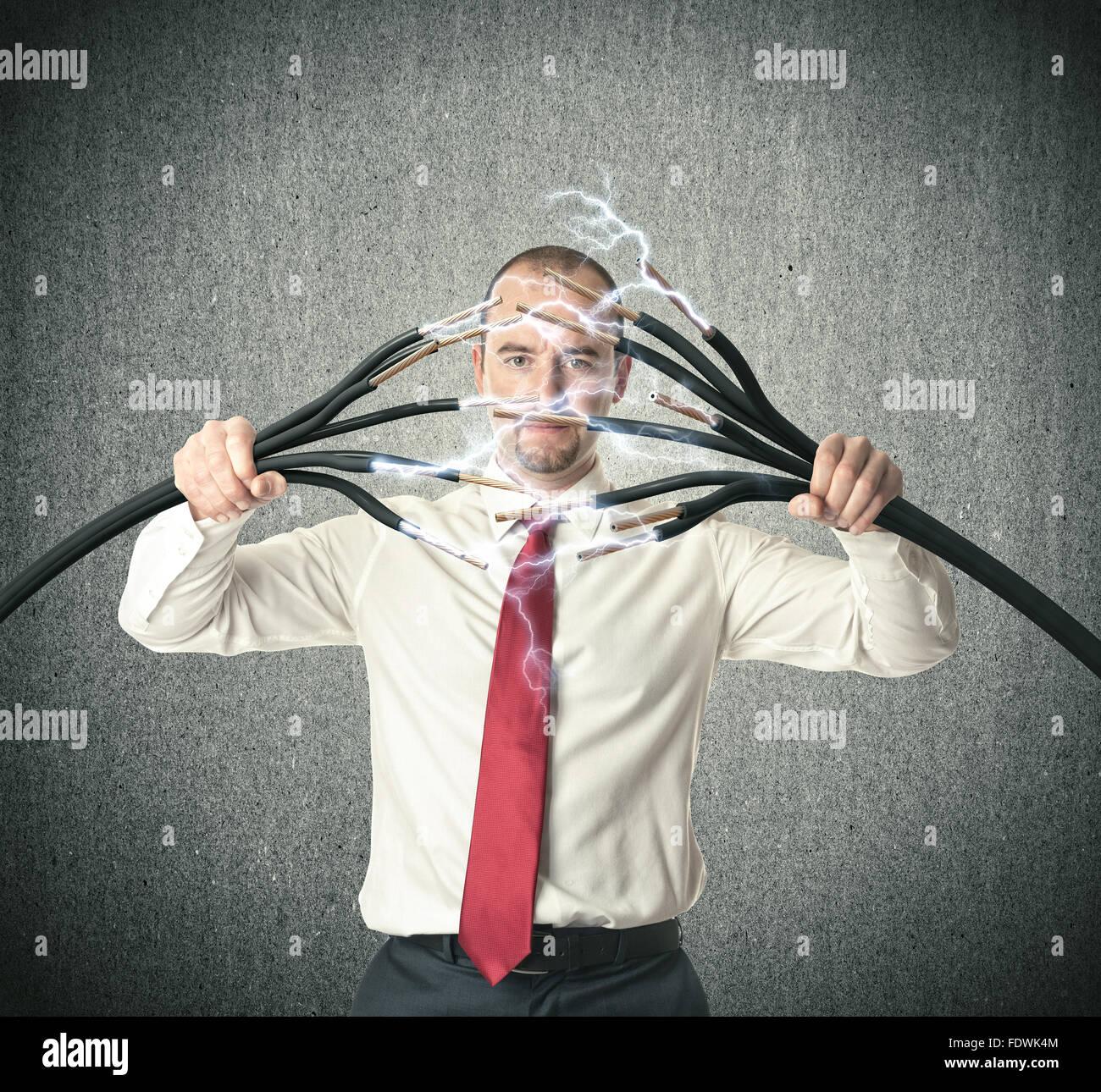 Mensch und Strom 3D-Bild Stockbild