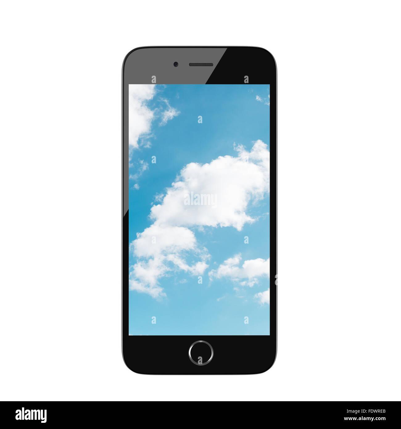 Realistisches Rendern smart phone mit bewölktem Himmel auf dem Bildschirm Stockbild