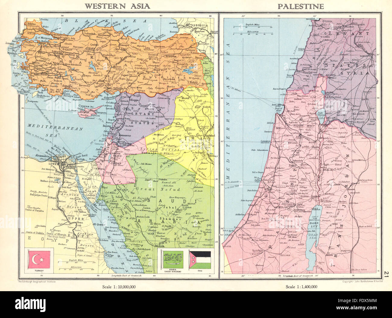 Karte Naher Osten Israel.Naher Osten Turkei Transjordanien Palastina Israel Syrien
