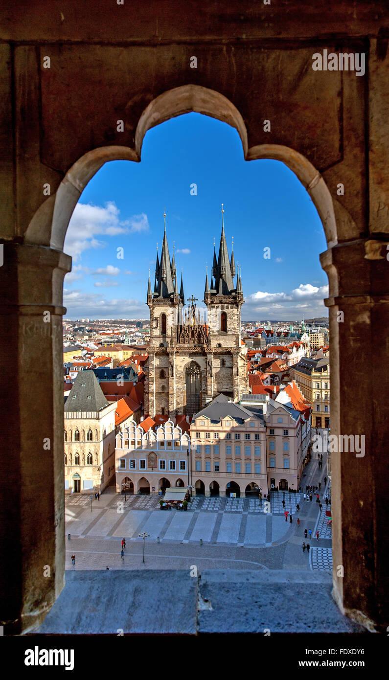 Stare Mesto (Altstadt), Prag, Tschechische Republik, Luftbild. Stockbild