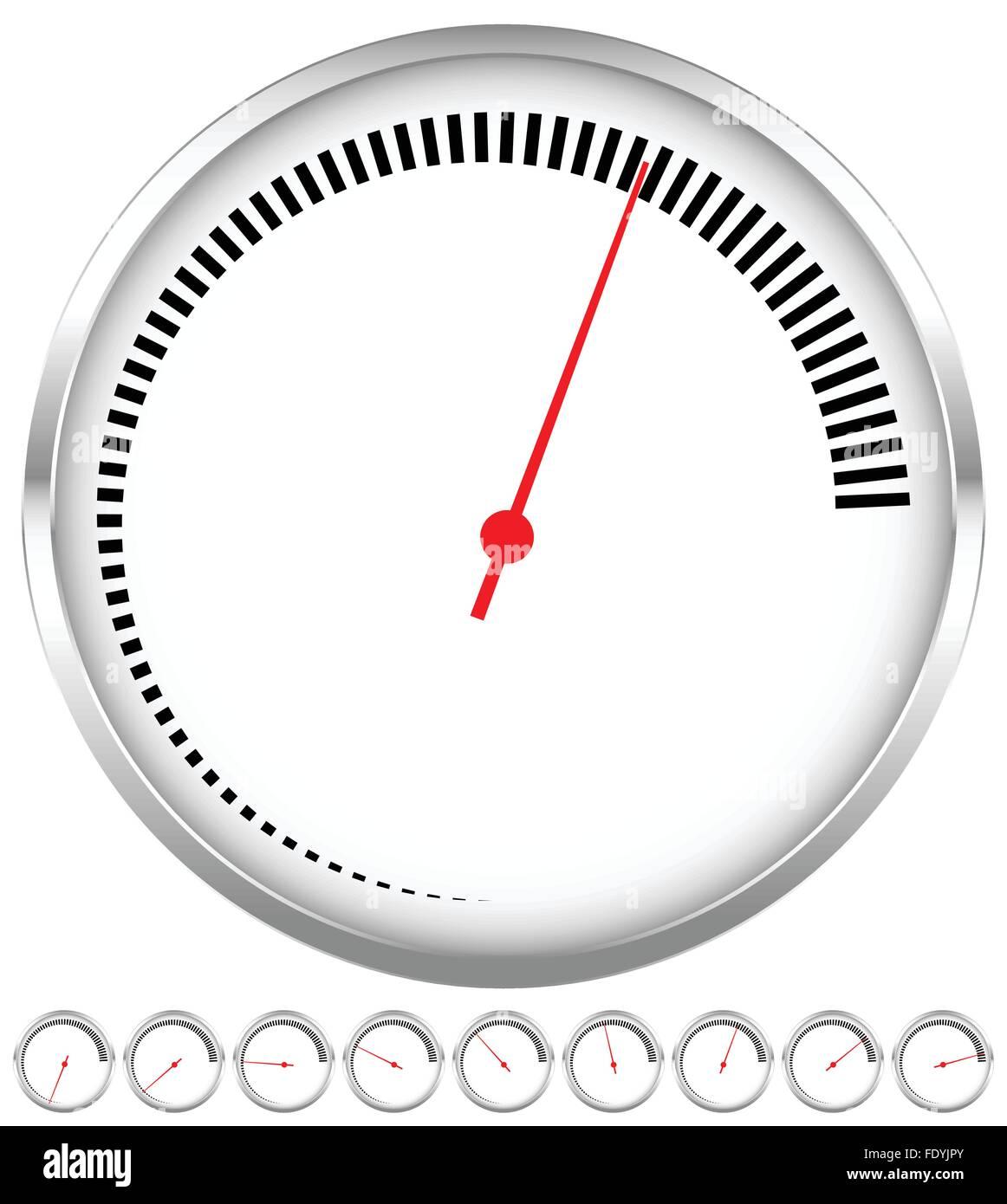 Kreisförmige Zifferblatt, Spurweite Vorlage mit Schritten und rote ...