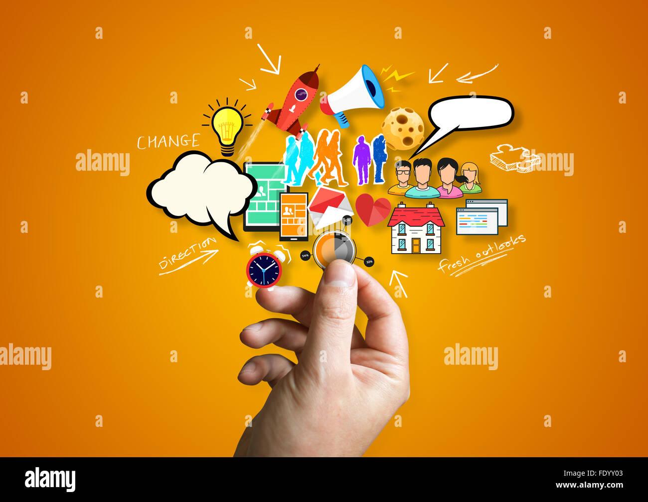Kreative Unternehmen. Eine Person kreative Design-Elemente... Stockbild