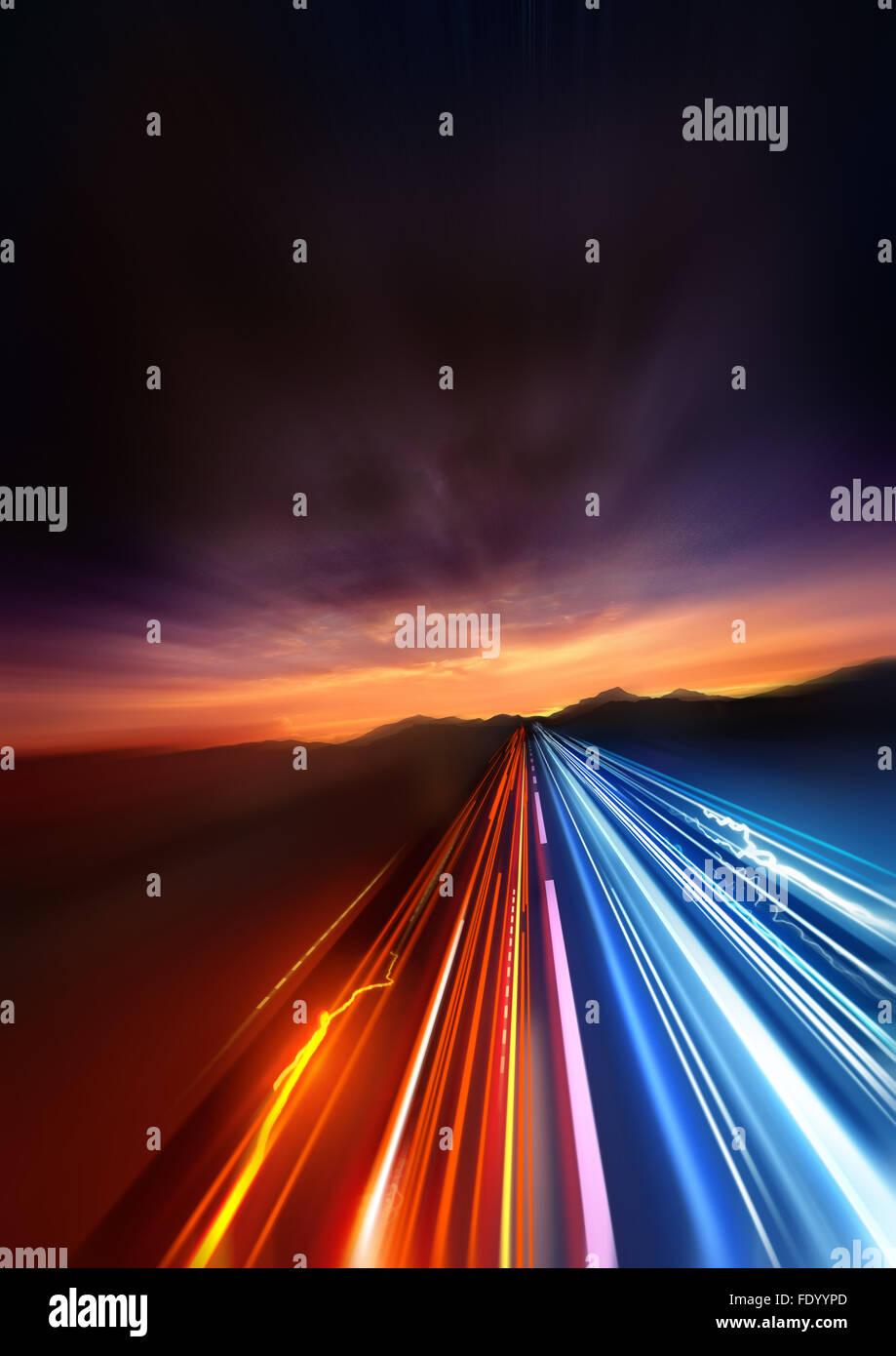 Super schnell. schnelle Beschleunigung in die Ferne Landschaft Lichtspuren. Stockbild