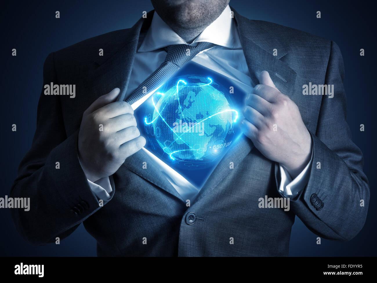 Globale Geschäftsmann. Ein Geschäftsmann, enthüllt eine vernetzte Welt. Business-Konzept Stockbild