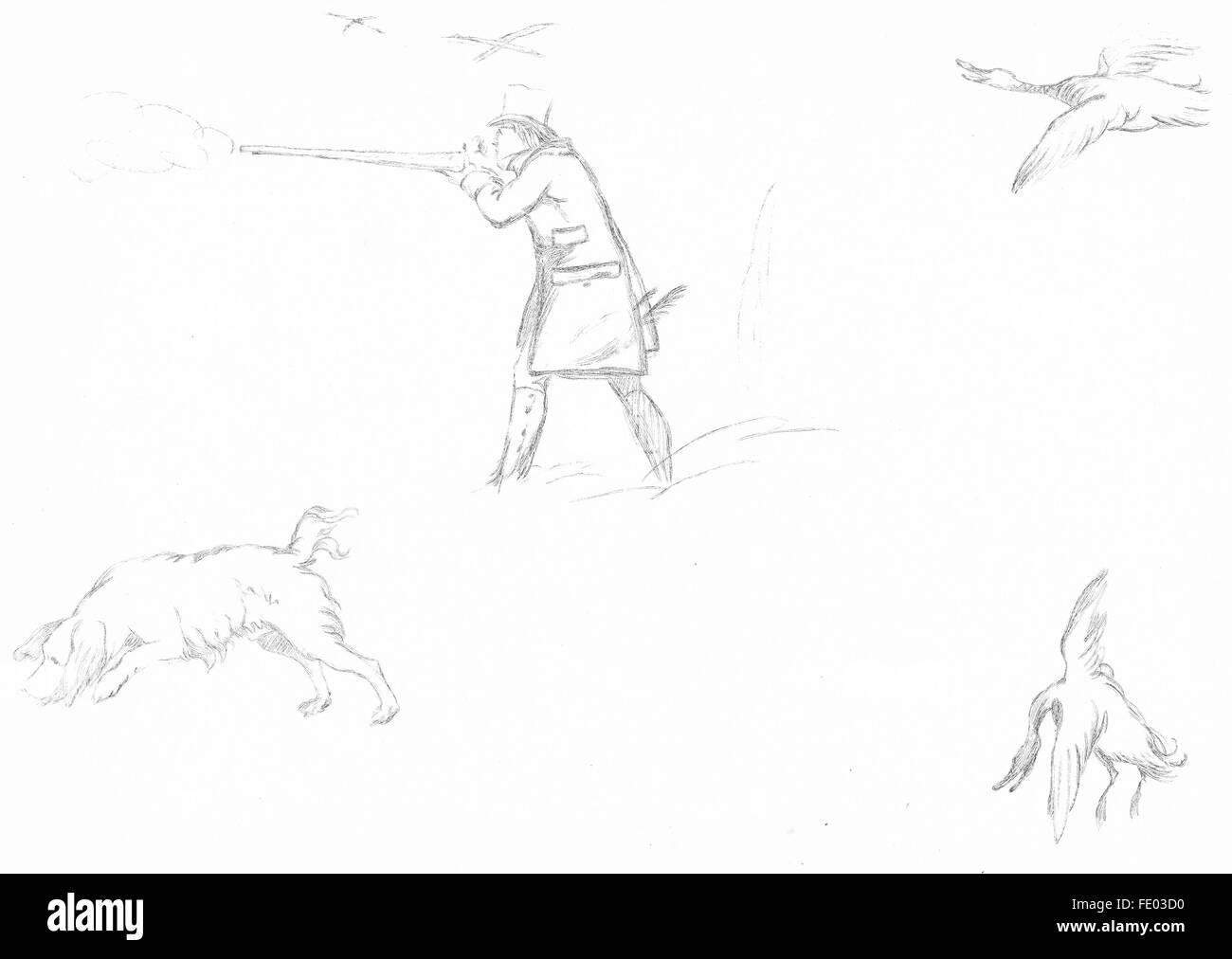 Jagd: Beispiel 9-Landseer, antike print c1880 Stockbild