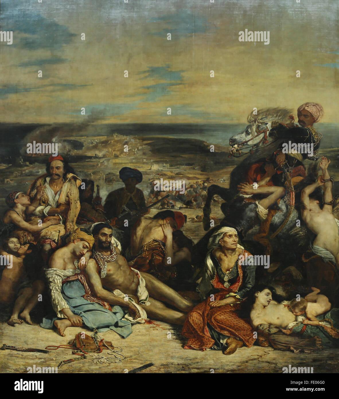 Das Massaker von Chios (11. April 1822), 1824 von dem französischen Maler Eugène Delacroix (1798-1863). Stockbild