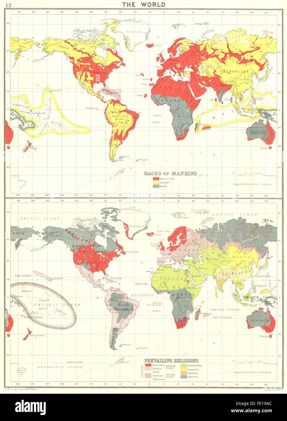 Welt: Menschenrassen; Vorherrschende Religionen, 1900 Antike Landkarte Stockbild