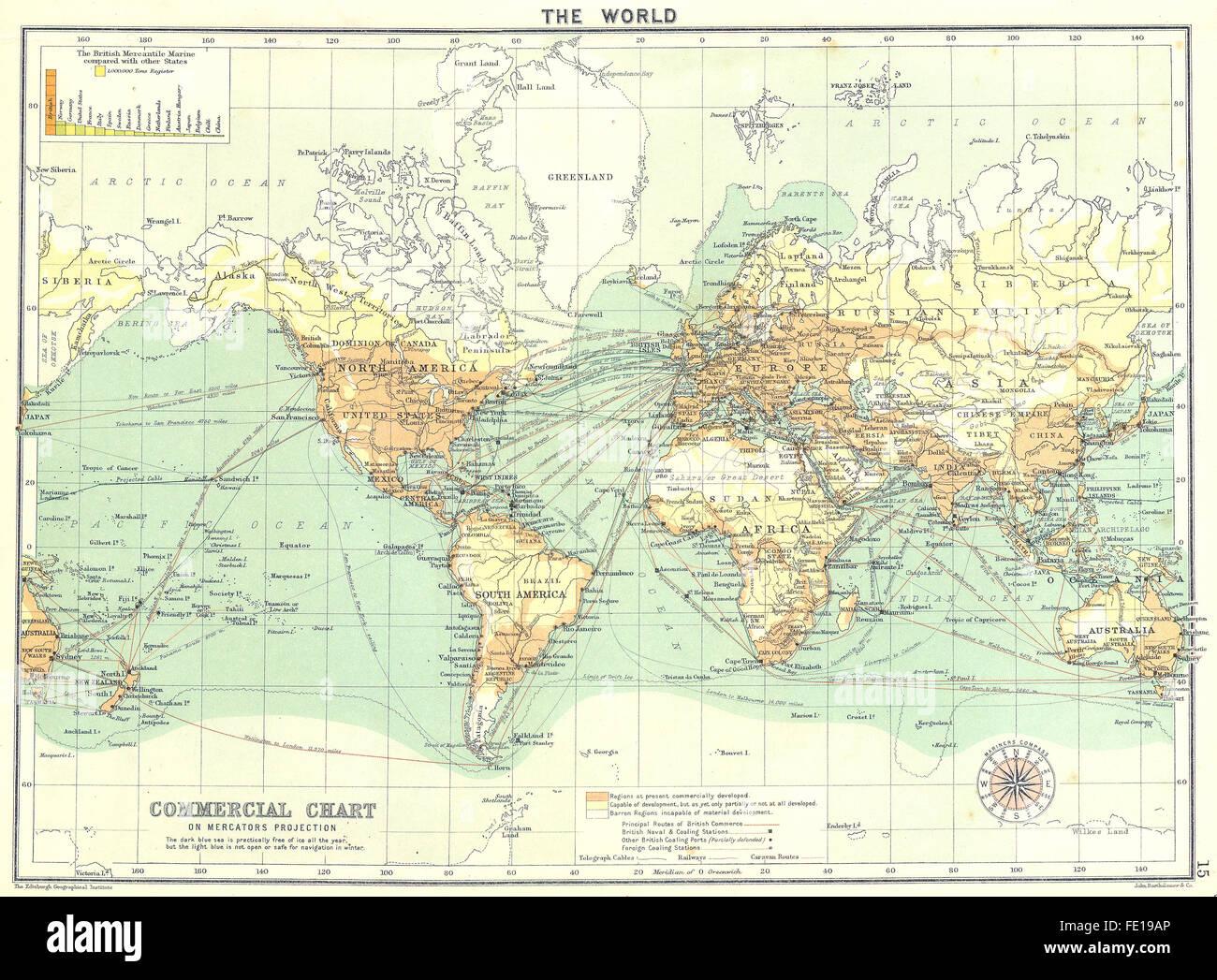 weltkarte 1900 Kommerzielle Diagramm, Mercators Projektion, 1900 antike Weltkarte  weltkarte 1900