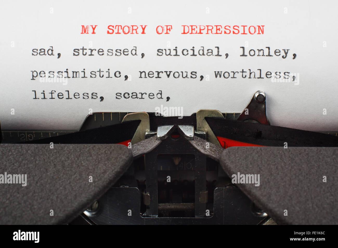 """""""Meine Geschichte der Depression"""" auf einer Schreibmaschine geschrieben Stockbild"""