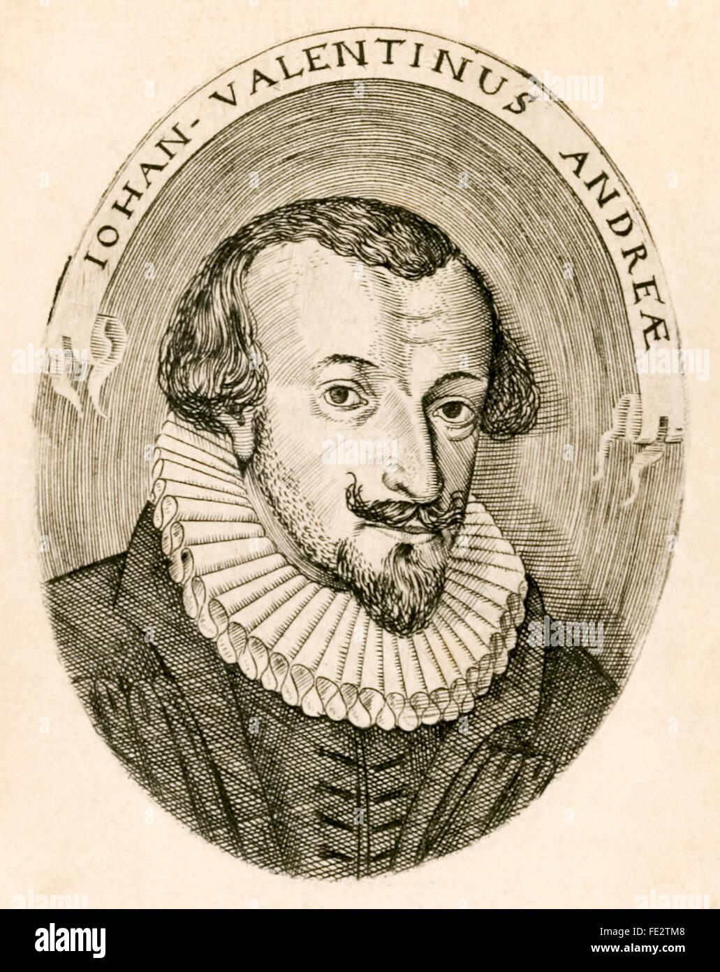 Johannes Valentinus Andreae (1586-1654), Frontispiz von einem 1616 satirischen Theaterstück schrieb er unter Stockbild