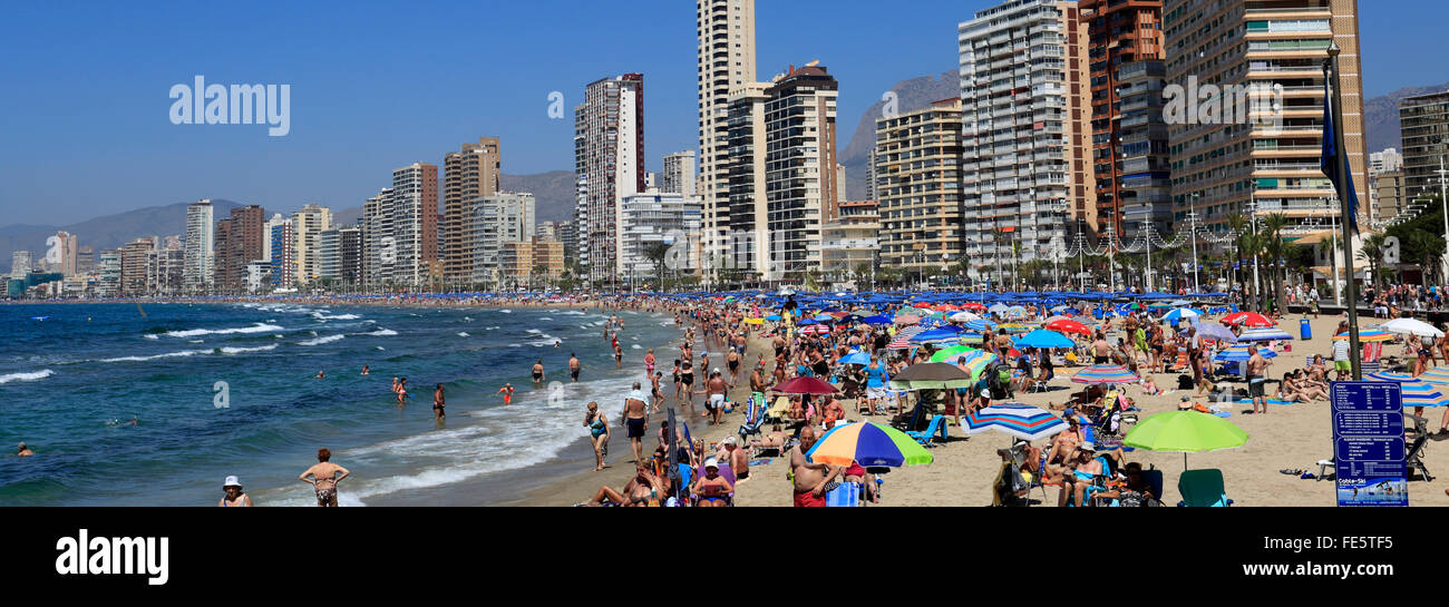 Blick entlang der belebten Playa De Levante Strand, Benidorm Resort, Costa Blanca, Provinz Valencia, Spanien, Europa.Stockfoto