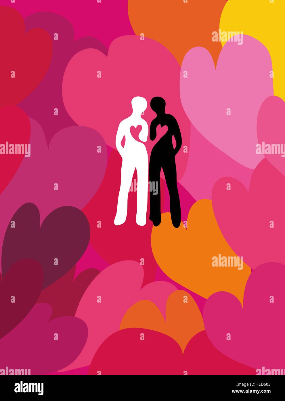 Liebevolle Freundschaft. angeschlossen Silhouetten von zwei Menschen von Herzen umgeben. Stockfoto