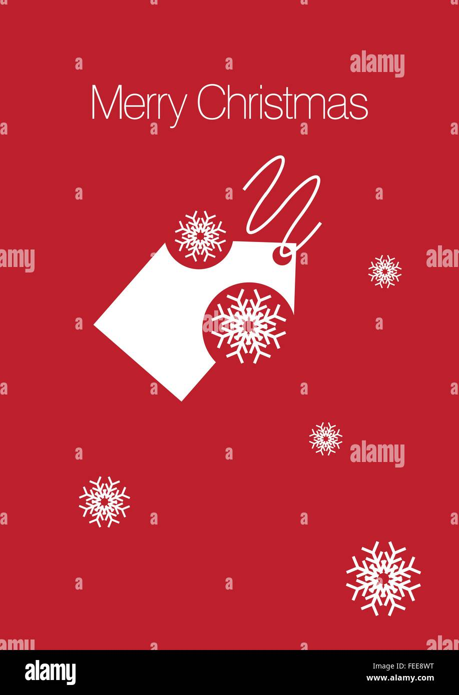 Rote Weihnachtskarte mit Tag und Schnee Fälschungen Stockbild