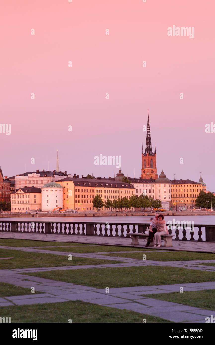 Aussicht auf Gamla Stan (Altstadt) in Stockholm, Schweden Stockbild