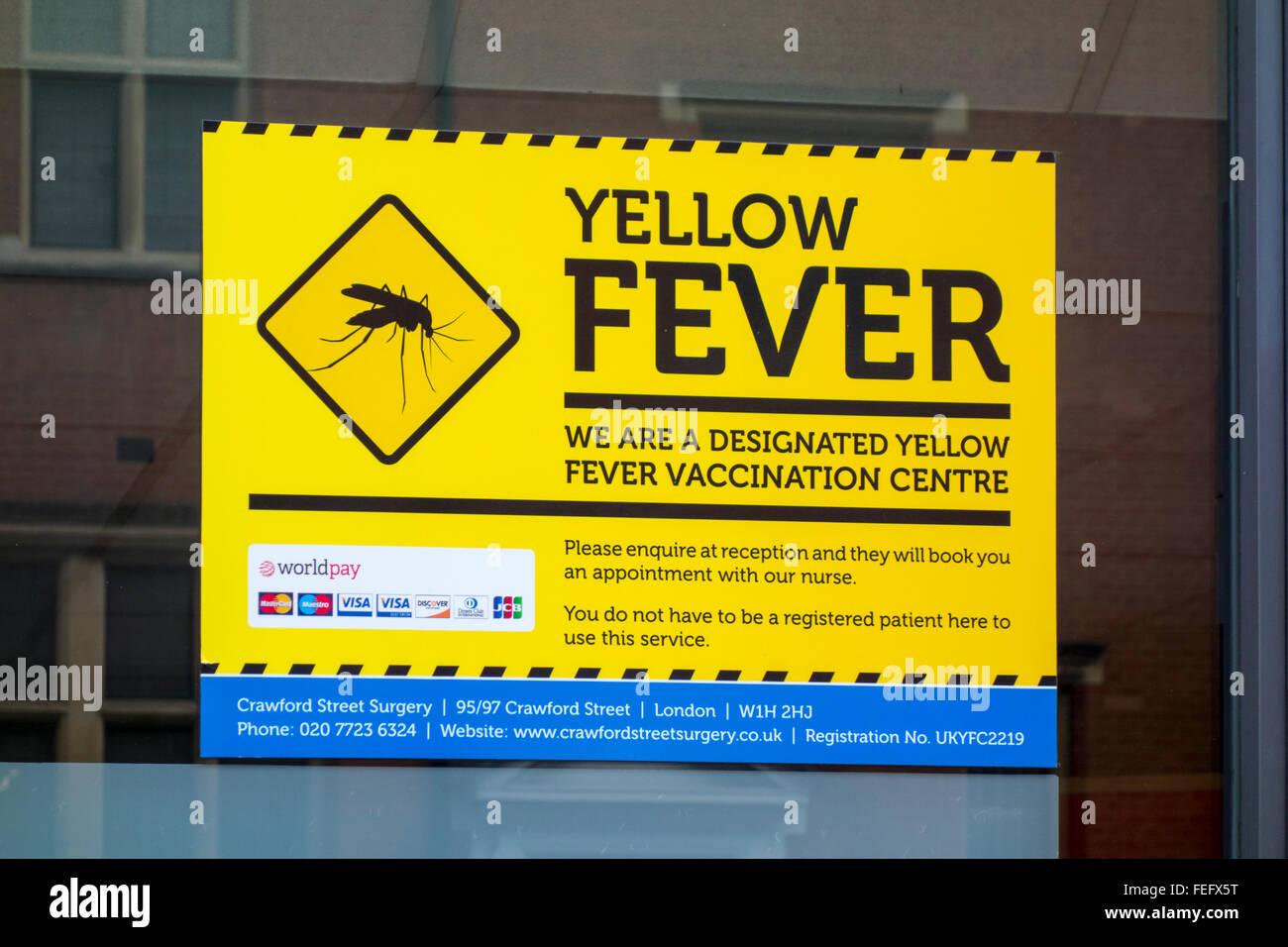 Gelbfieber Impfung Zentrum Zeichen Stockbild