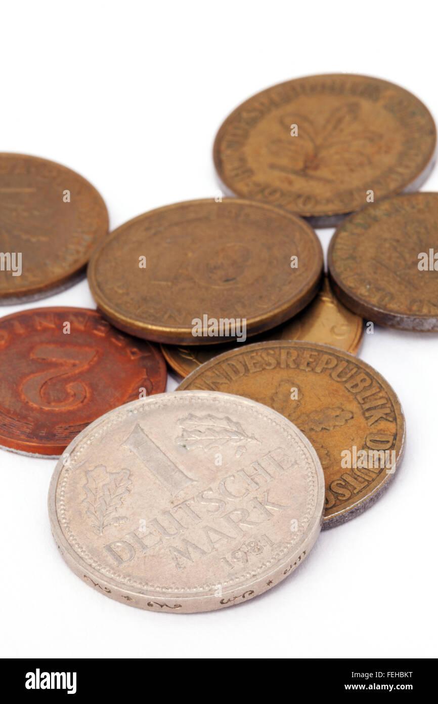 Alte Deutsche D Mark Münzen Aus Der Zeit Des Pre Euro Stockfoto