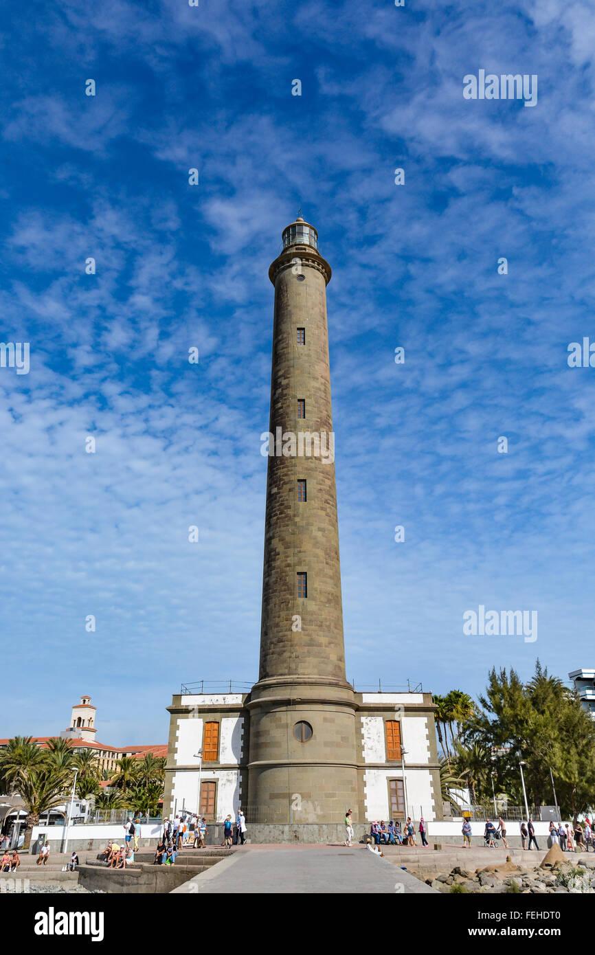 Leuchtturm in Maspalomas (Faro de Maspalomas) auf Gran Canaria (Gran Canaria), der größte Leuchtturm auf Stockbild