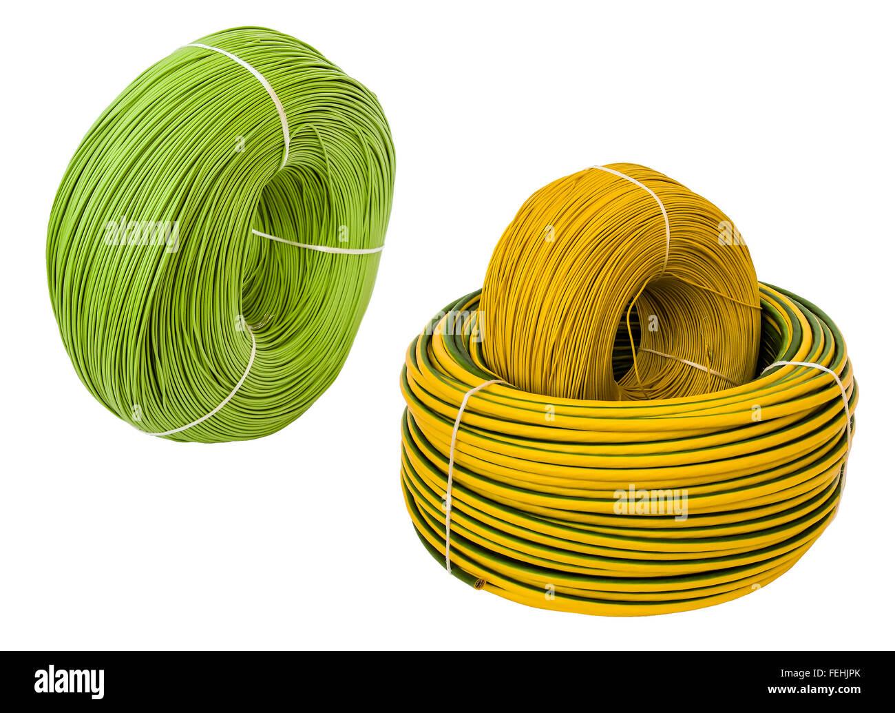 Farbige Elektrokabel coil roll green wire on stockfotos coil roll green wire on bilder