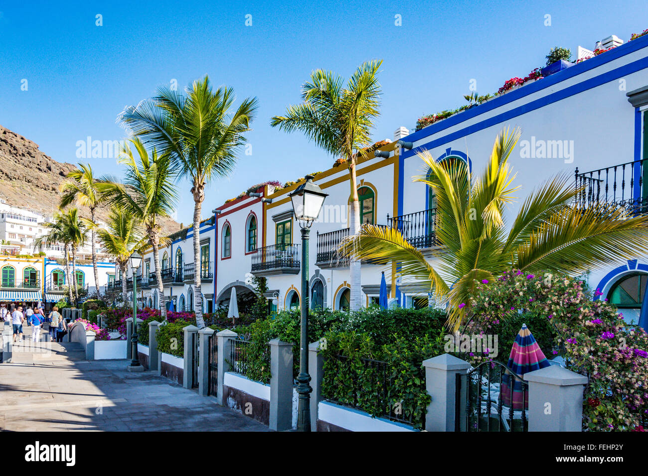 Puerto de Mogan, eine wunderschöne, romantische Stadt auf Gran Canaria, Spanien Stockbild