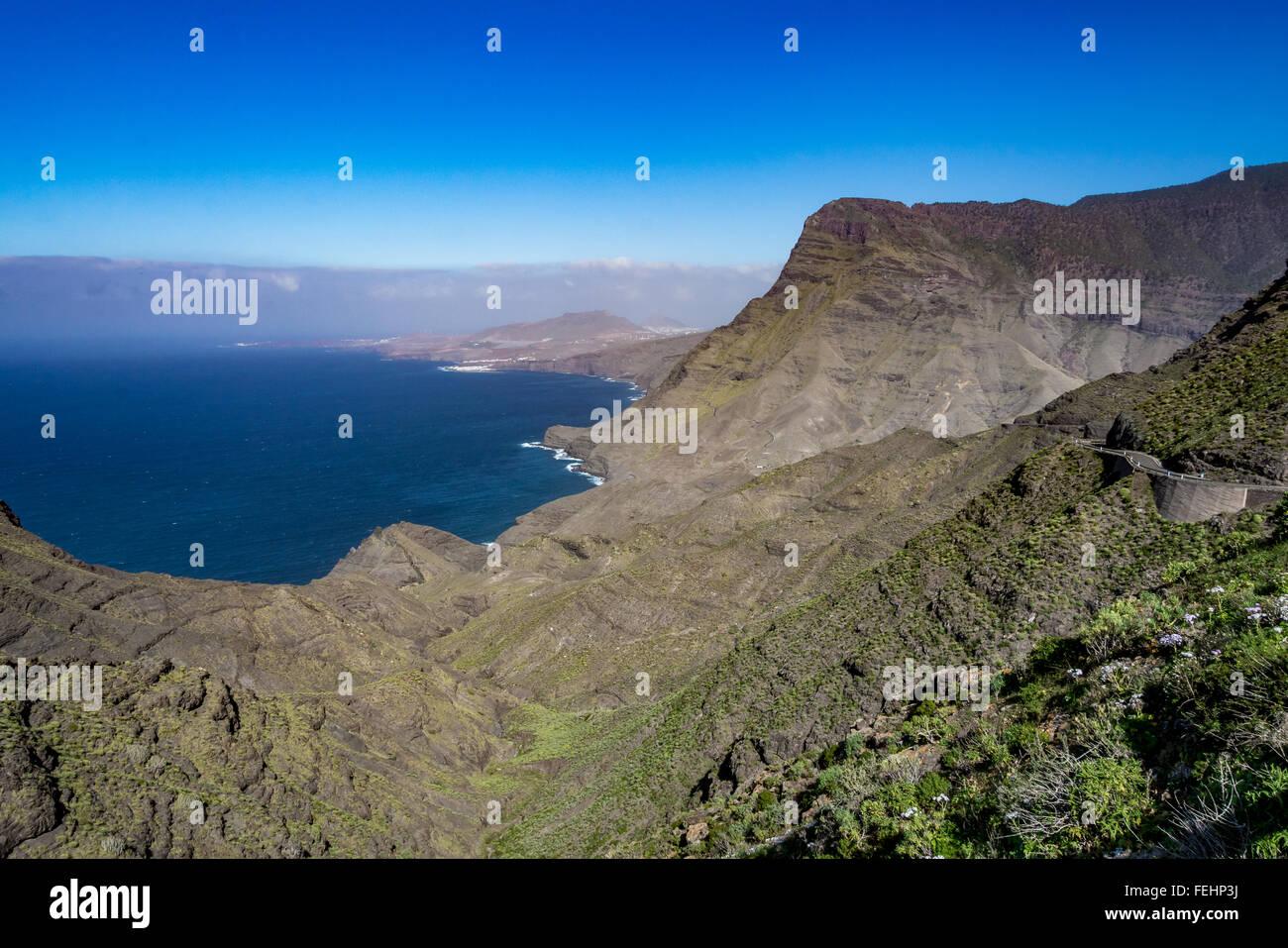 Schöner Panoramablick auf Gran Canaria (Gran Canaria) Küste Landschaft, Spanien Stockbild