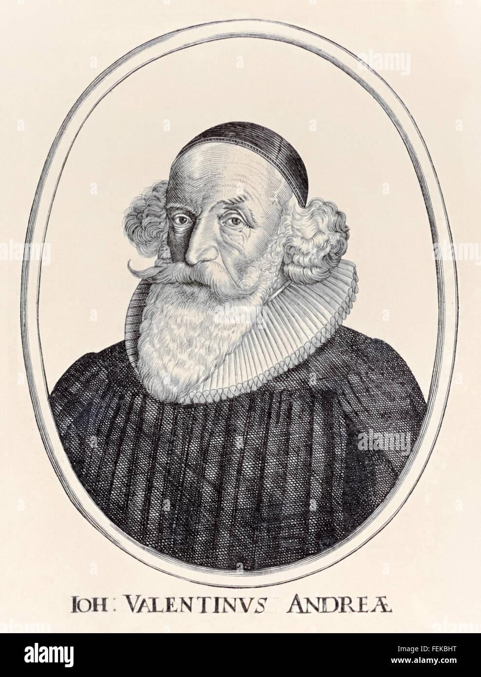 """Johannes Valentinus Andreae (1586-1654), deutscher Theologe, der Urheberschaft von """"Chymische Hochzeit des Stockbild"""