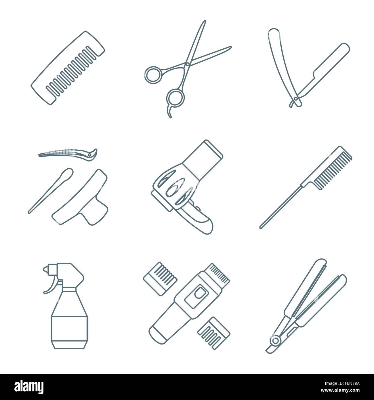 Vektor Friseur Friseur Werkzeuge Geräte dunkelgrau Gliederung ...