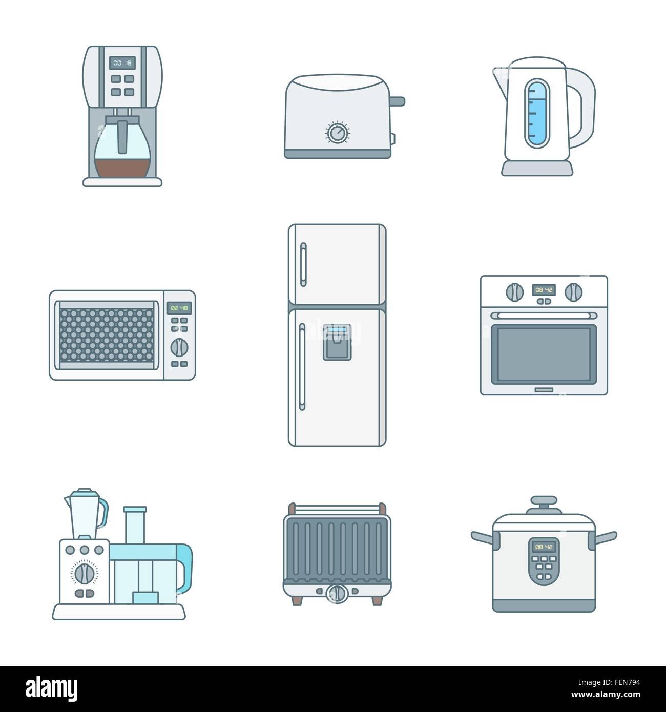 Vektor-Farbe Kontur setzen verschiedene Küche Elektrogeräte Geräte ...