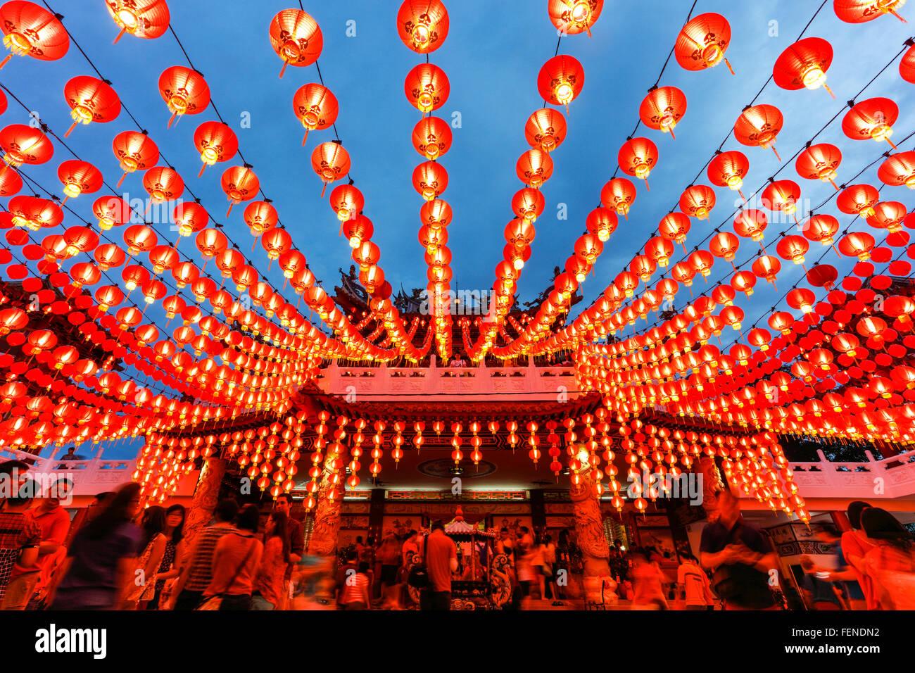 Die Laternen der Thean Hou Tempel während des chinesischen Neujahrs, Kuala Lumpur, Malaysia. Stockbild