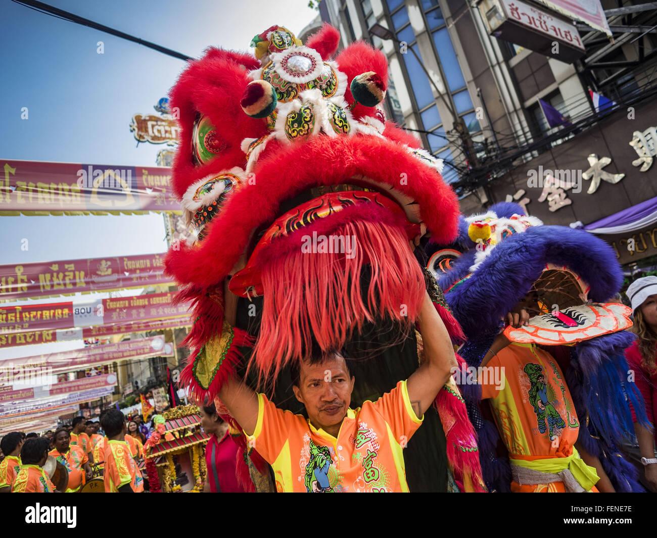 Bangkok, Thailand. 8. Februar 2016. Lion Tänzer für Chinese New Year ...