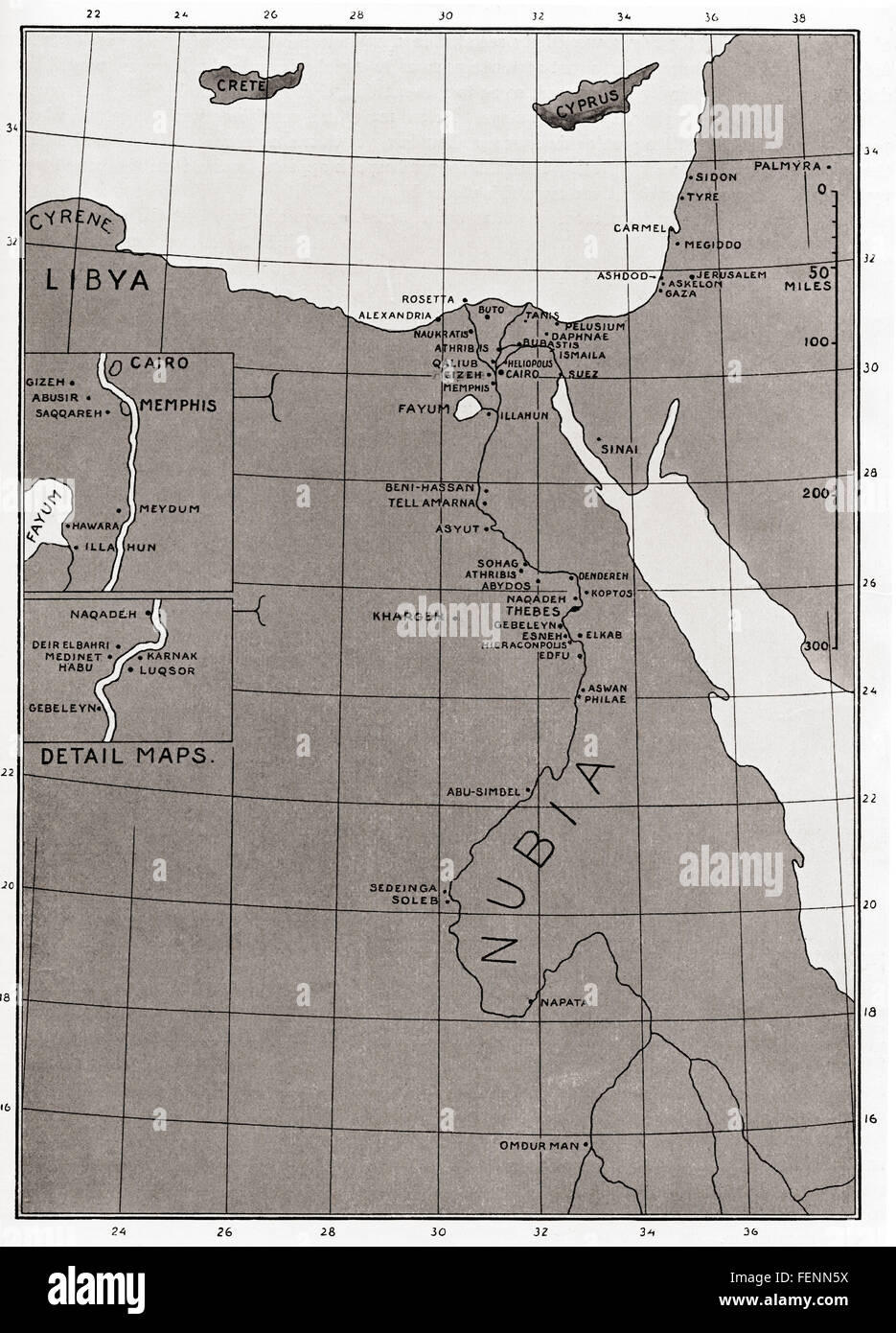 Karte des alten Ägypten. Stockbild