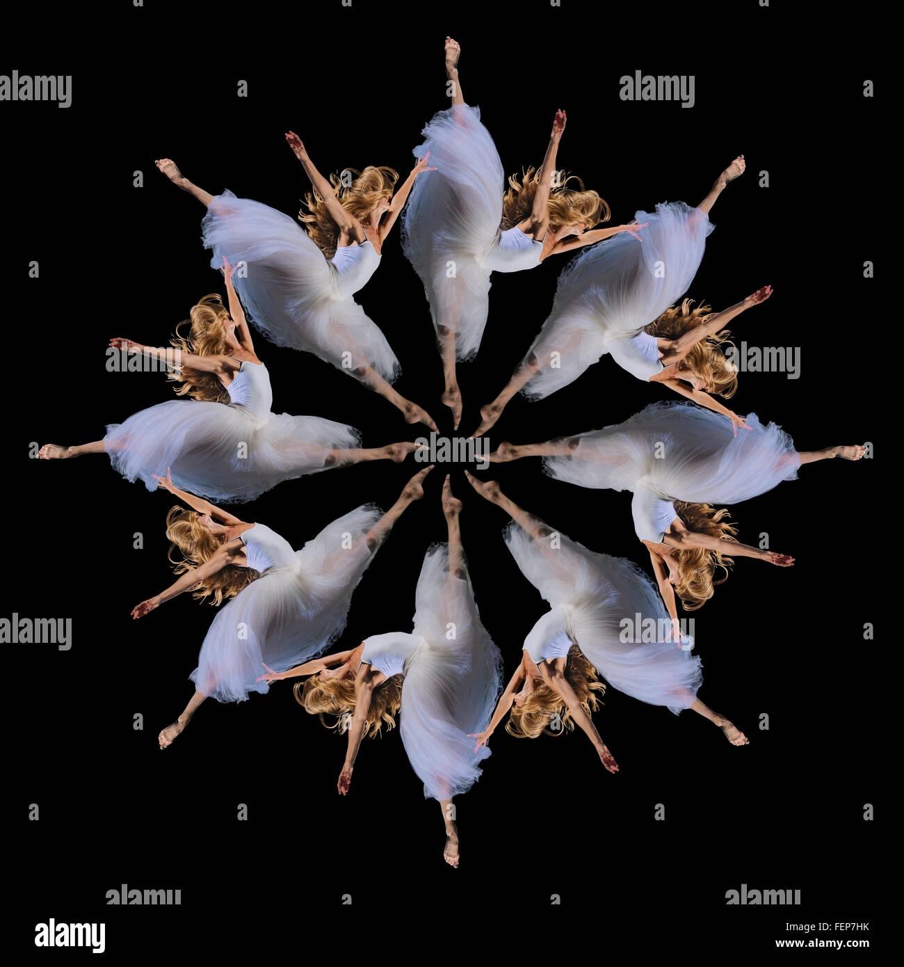 Zusammengesetzte Wiederholung Kreis von acht weibliche Ballerinen springen Stockbild