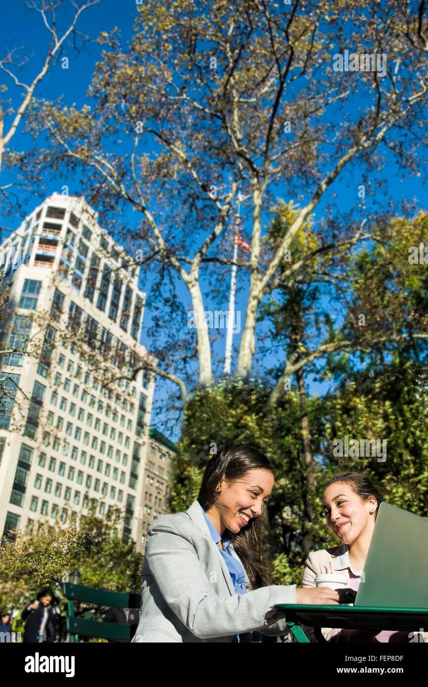 Junge Erwachsene weibliche Zwillinge mit Laptop im Stadtpark Stockbild