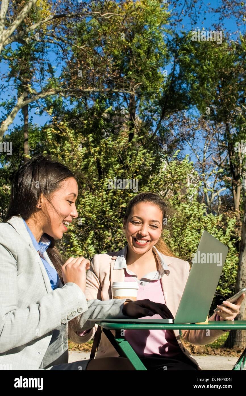 Junge Erwachsene weibliche Zwillinge Tippen auf Laptop im Stadtpark Stockbild