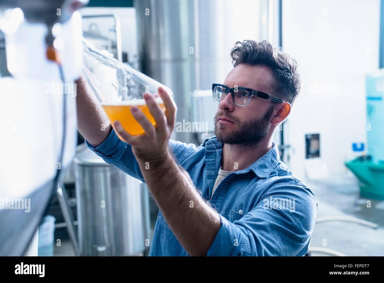 Junger Mann in Brauerei Füllung Kolben mit Bier Stockbild