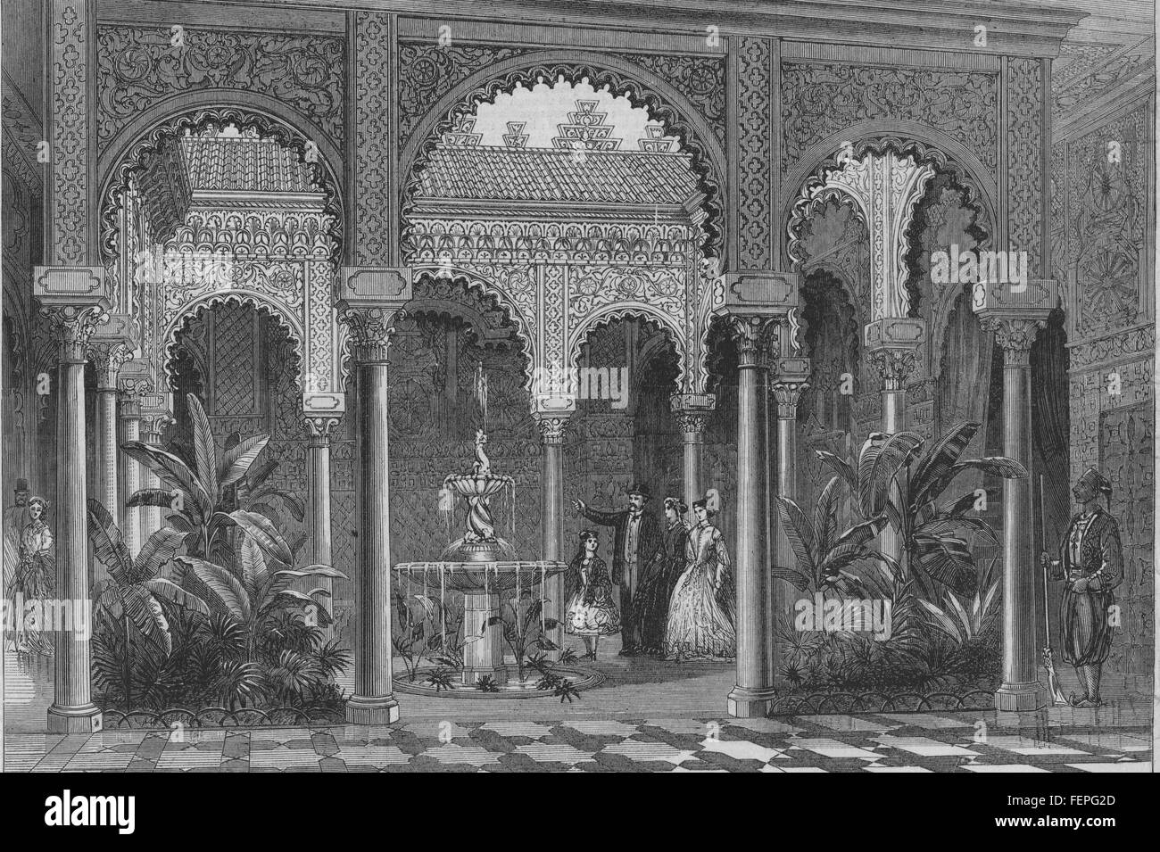 Tunesien-Innere des Palastes des Bey von Tunis 1867. Illustrierte London News Stockbild