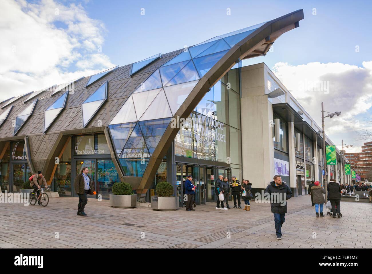 Die Moor-Markthalle, Sheffield, South Yorkshire, England, UK Stockbild
