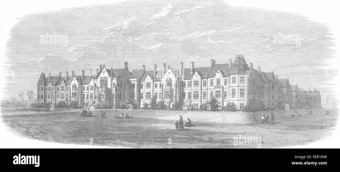 Exeter, DEVON Wonford Haus Rückzugsort für den wahnsinnigen 1870. Illustrierte London News Stockbild