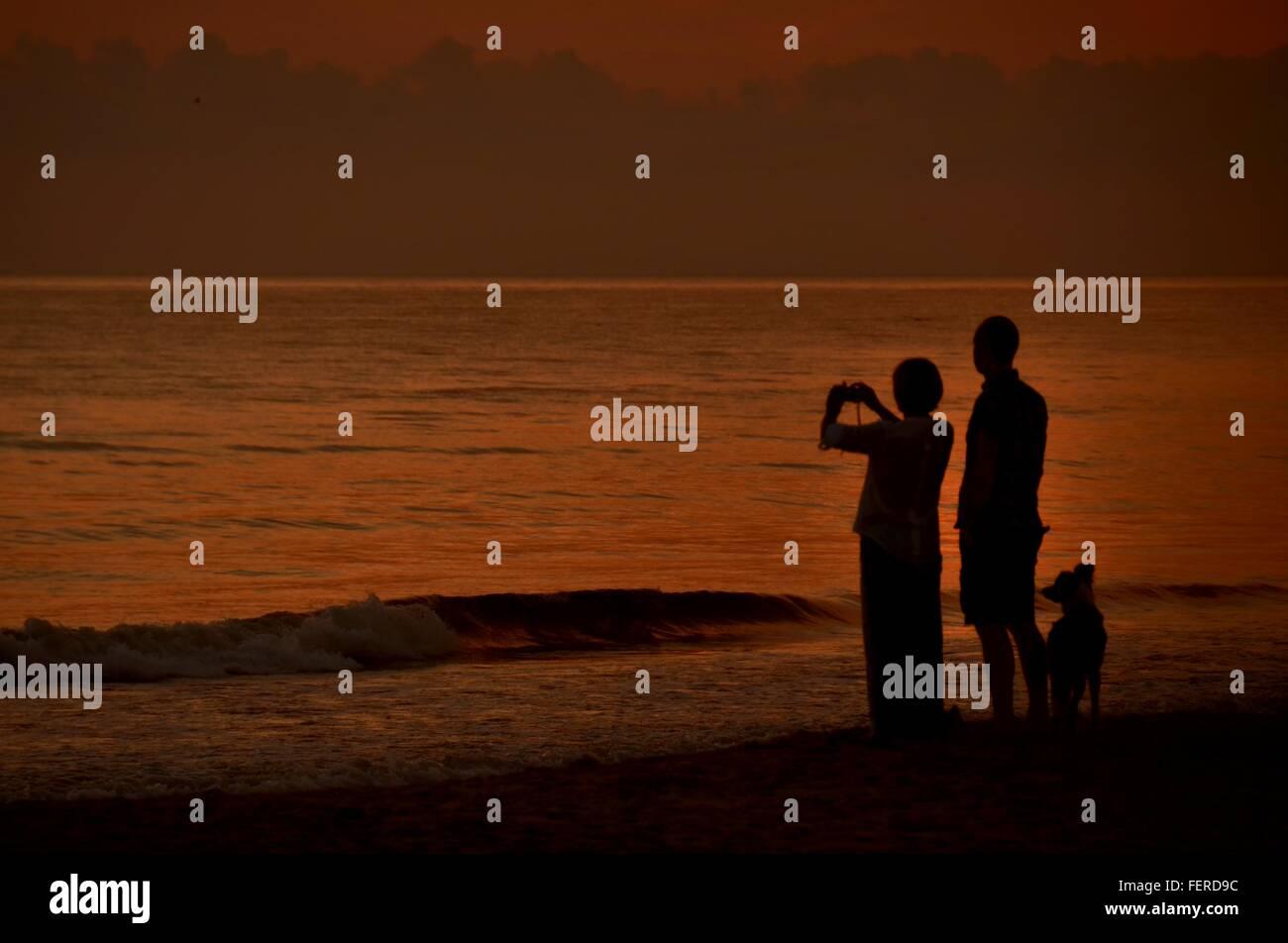 Frau See von Mensch und Hund bei Sonnenuntergang fotografieren Stockbild