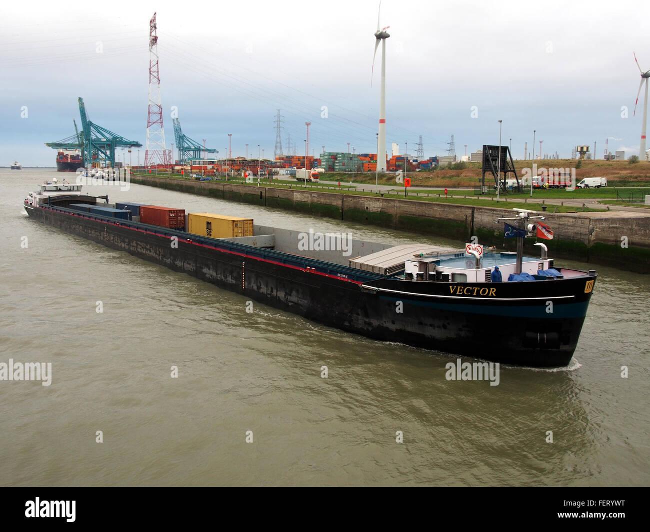 Vektor (Schiff, 2008), ENI 02331015 Hafen von Antwerpen pic2 Stockbild