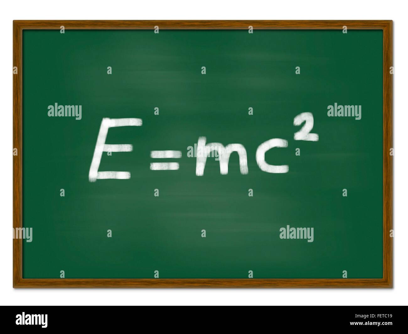 Board mit Einsteins Masse-Energie-Äquivalenz e = mc2 Stockfoto
