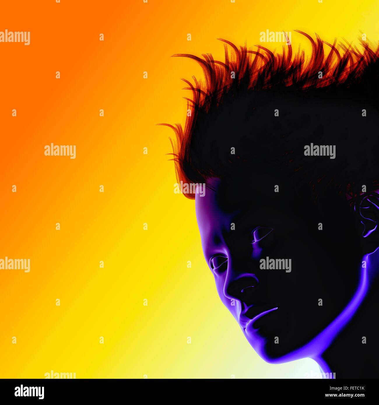 Menschenkopf, bunt, retro, 80er, Pop art Stockbild