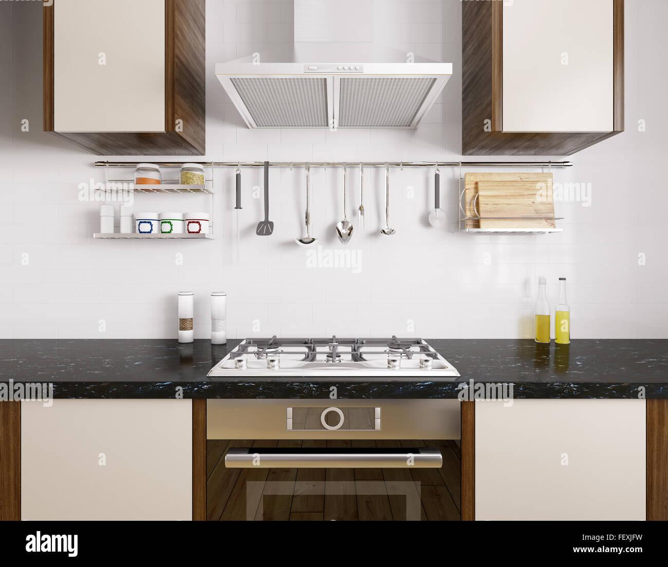 Moderne Küche mit schwarzem Granit, Backofen, Gasherd ...