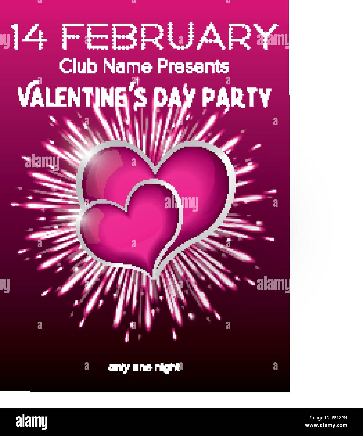 Happy Valentines Day Party Flyer Design Vorlage Vektor Illustration Club Konzept Mit Zwei Purple Hearts Und Feuerwerk